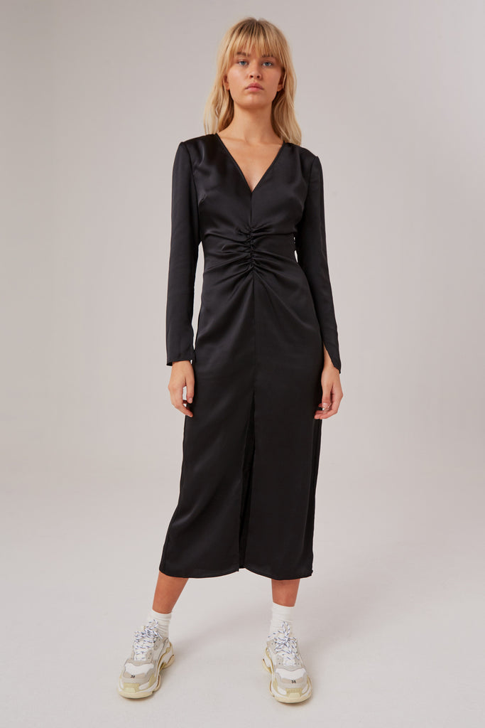POPULATION LONG SLEEVE DRESS black