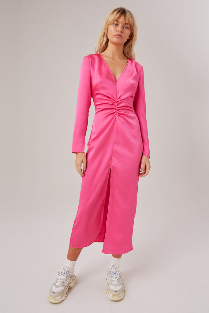 POPULATION LONG SLEEVE DRESS hot pink