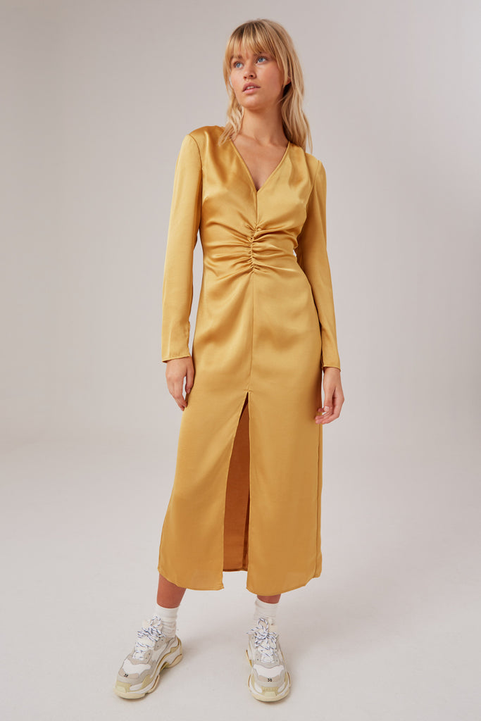 POPULATION LONG SLEEVE DRESS golden yellow