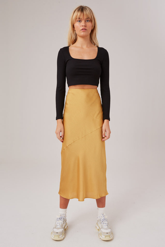 POPULATION SKIRT golden yellow