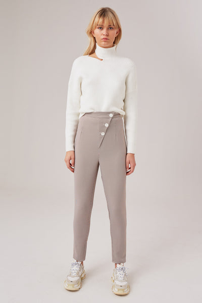 CONSTANCE PANT white w chocolate