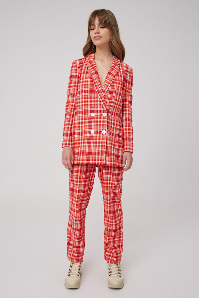 MINDLESS BLAZER red check