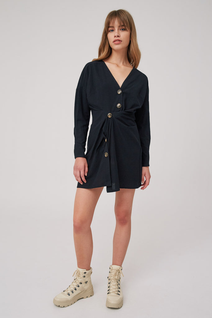 EMBODY LONG SLEEVE MINI DRESS black