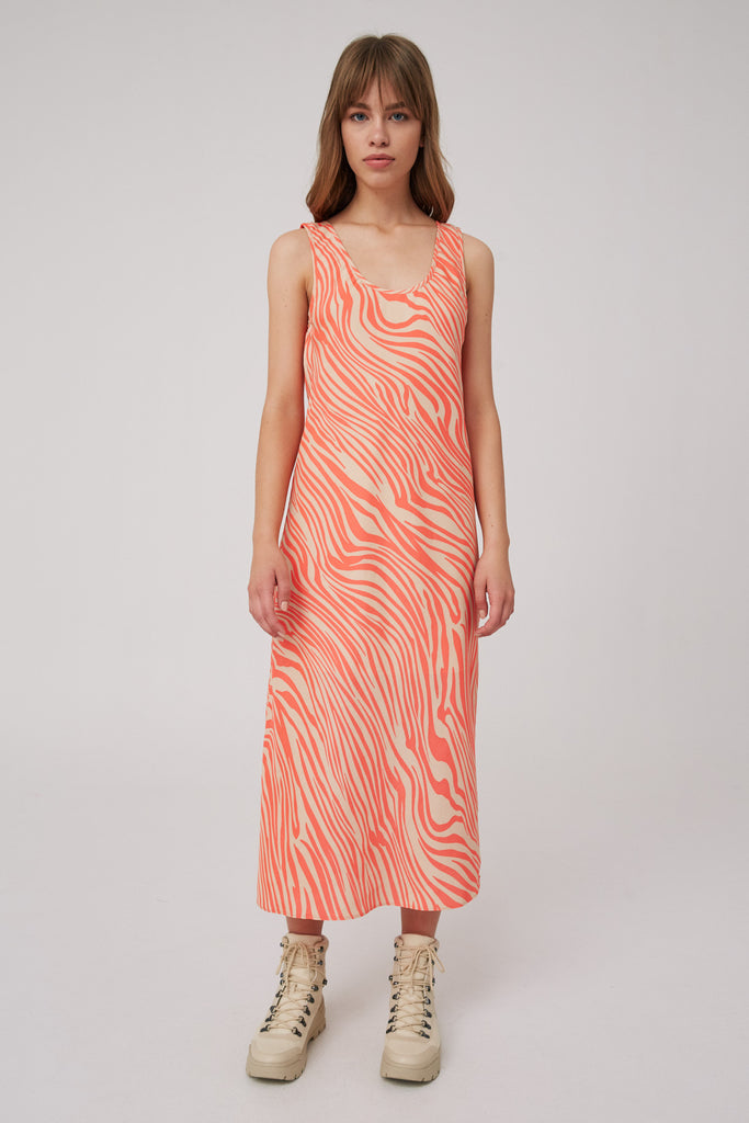 LONG GONE DRESS coral w nude