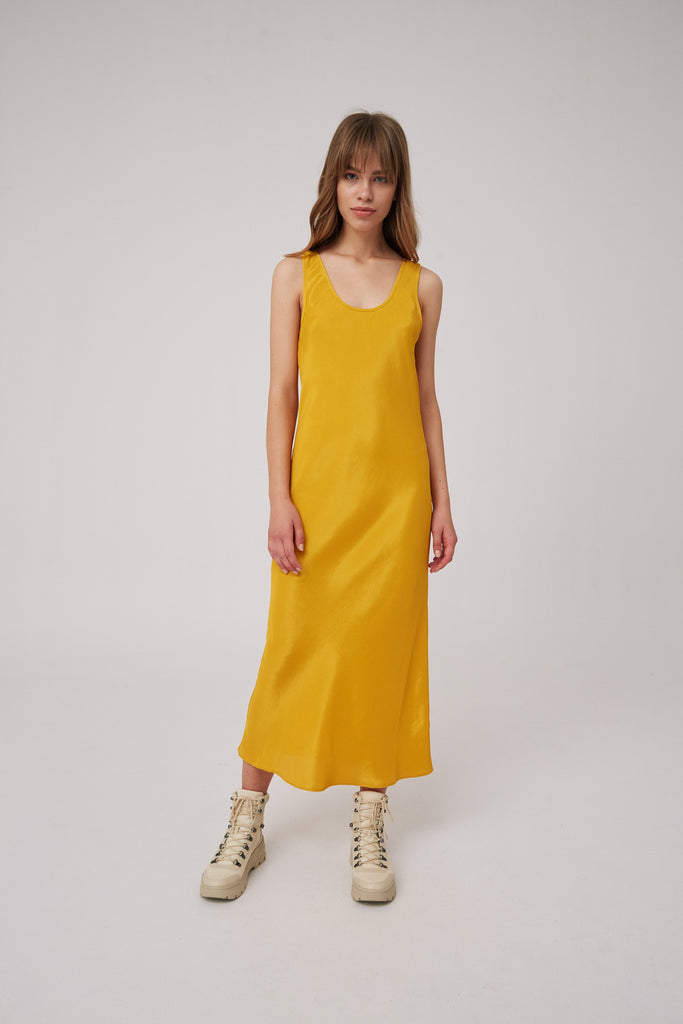 LONG GONE DRESS mustard
