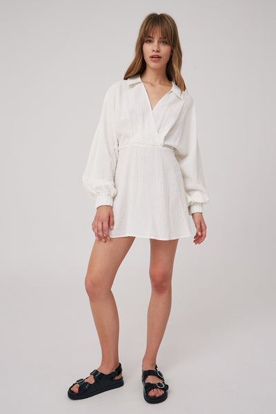 ATLAS LONG SLEEVE DRESS ivory