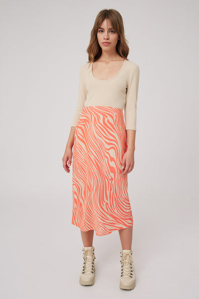 LONG GONE SKIRT coral w nude