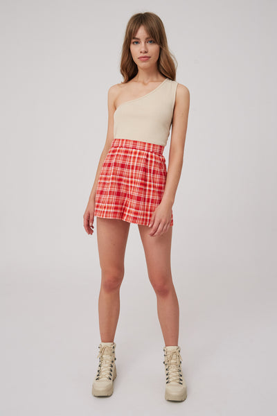 MINDLESS SHORT red check