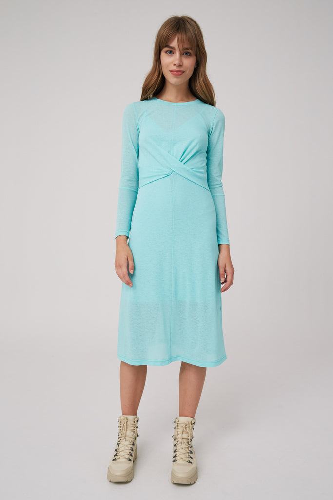 OWN LIGHT LONG SLEEVE MIDI DRESS mint