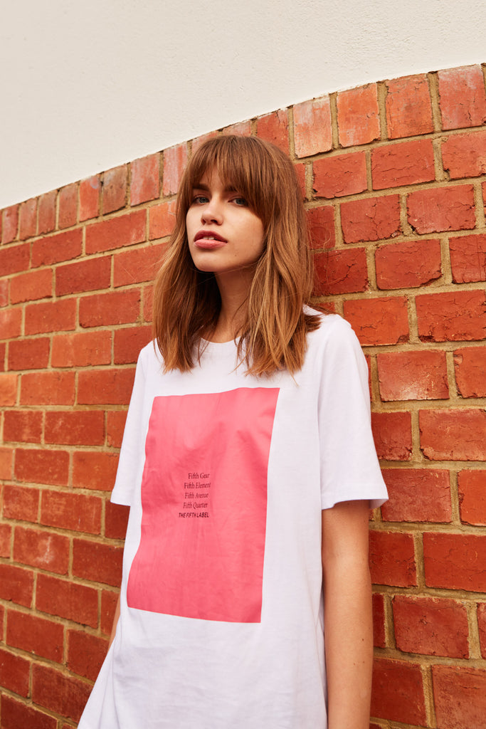 BOUND T-SHIRT white w pink