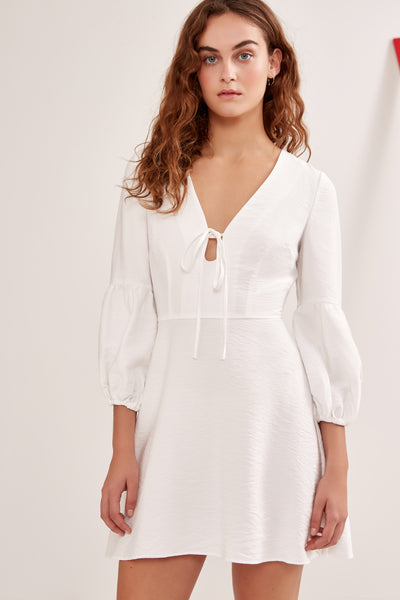 SOULMATE LONG SLEEVE MINI DRESS  ivory