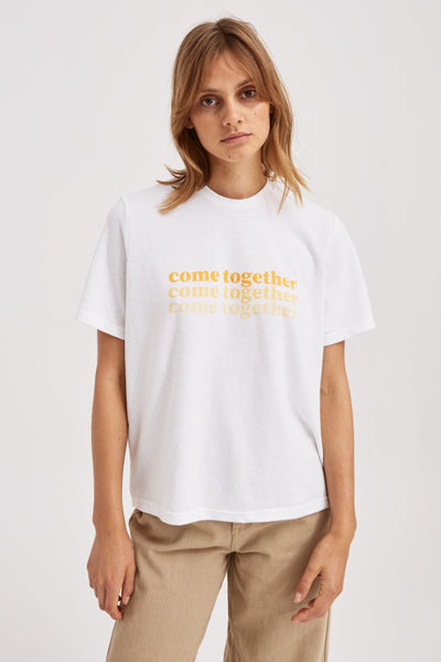 COME TOGETHER T-SHIRT ivory w yellow