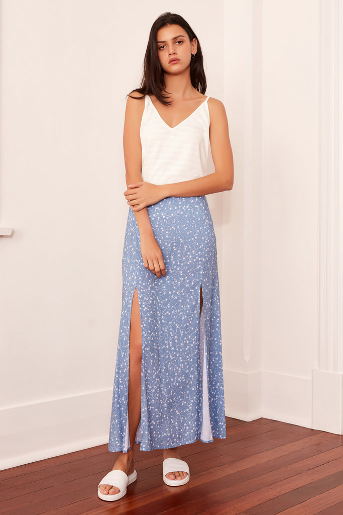 CELEBRATED SKIRT dusty blue sparkler