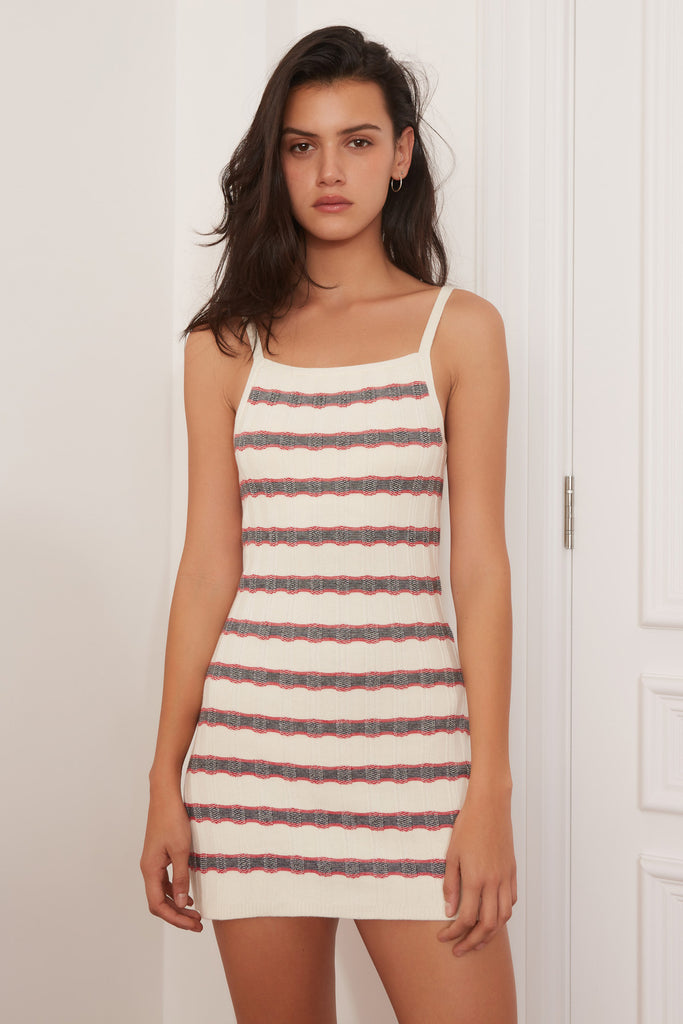 GRAVITATION STRIPE DRESS ivory w navy