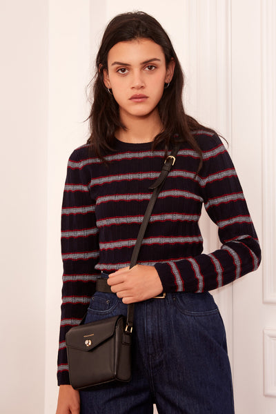 GRAVITATION STRIPE LONG SLEEVE TOP navy w red