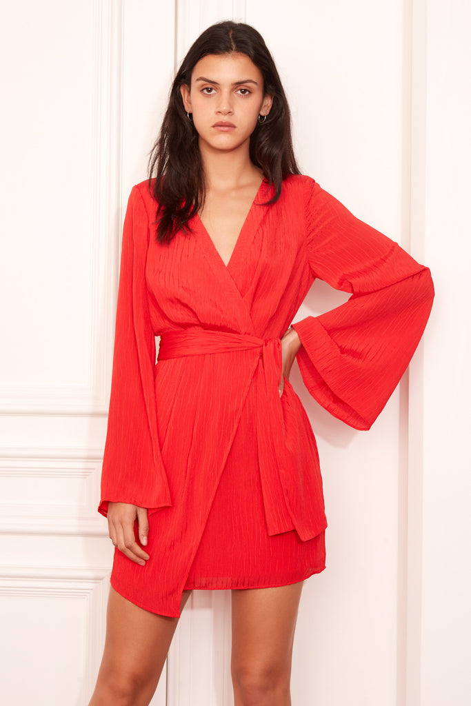 GILDED LONG SLEEVE DRESS scarlet
