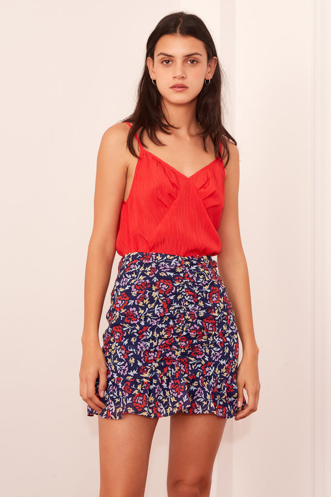 INFRARED SKIRT navy w scarlet watercolour
