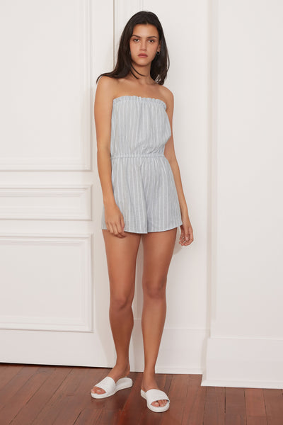 PIXEL STRIPE PLAYSUIT sage w white