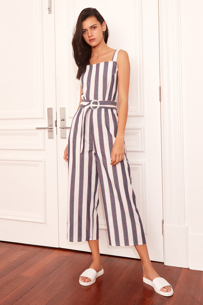 SEQUENCE STRIPE JUMPSUIT navy w ivory