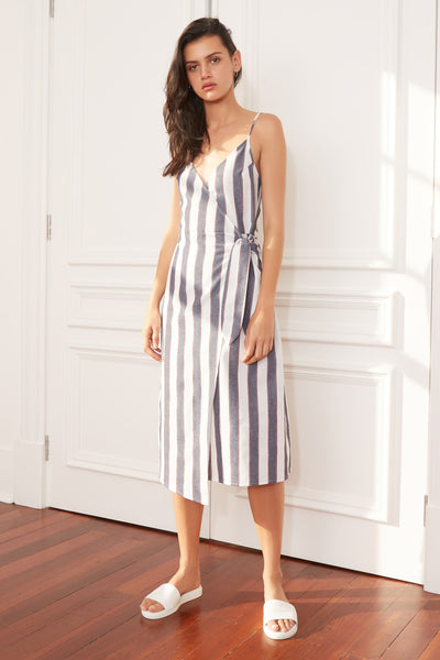 SEQUENCE STRIPE MIDI DRESS navy w ivory