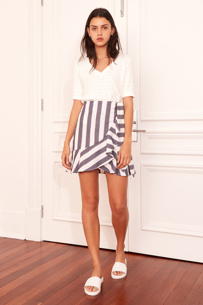 SEQUENCE STRIPE SKIRT navy w ivory