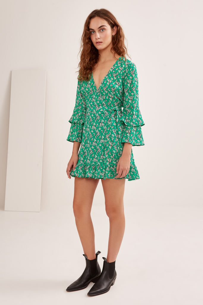 ADVENTURER LONG SLEEVE DRESS green floral