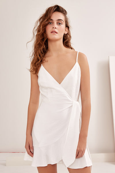 SOULMATE SHORT SLEEVE WRAP DRESS ivory