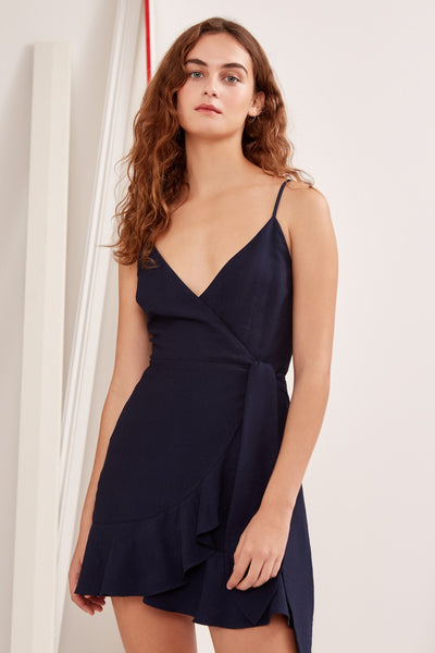 SOULMATE SHORT SLEEVE WRAP DRESS navy