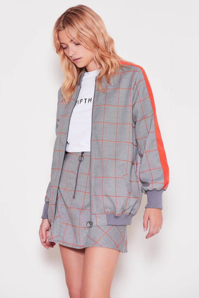ACADEMIC CHECK BOMBER JACKET grey w orange