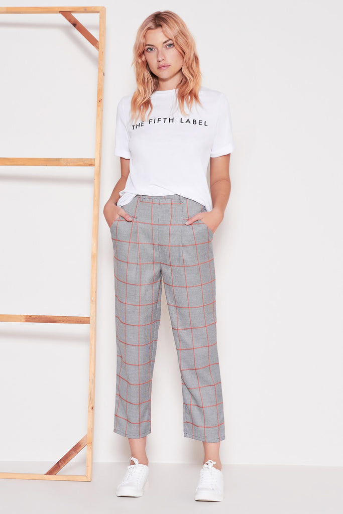 ACADEMIC CHECK PANT grey w orange