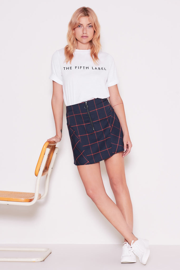 ACADEMIC CHECK SKIRT navy w orange