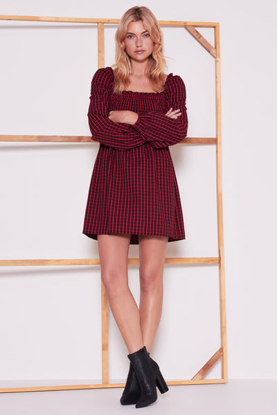 CAMPUS LONG SLEEVE DRESS berry w black