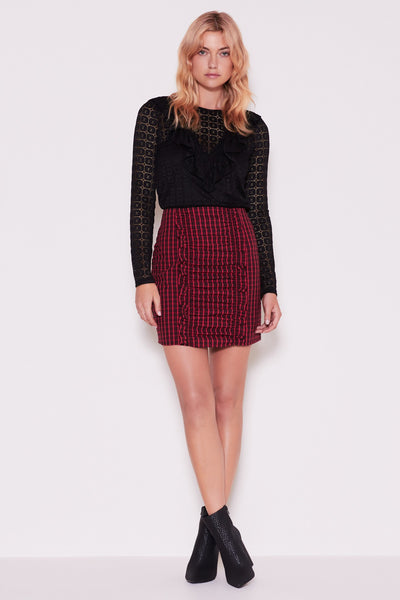 CAMPUS SKIRT berry w black