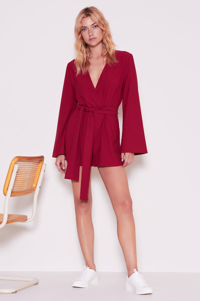CHEMISTRY LONG SLEEVE PLAYSUIT berry
