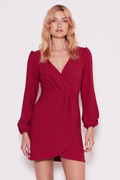 CHEMISTRY LONG SLEEVE WRAP DRESS berry