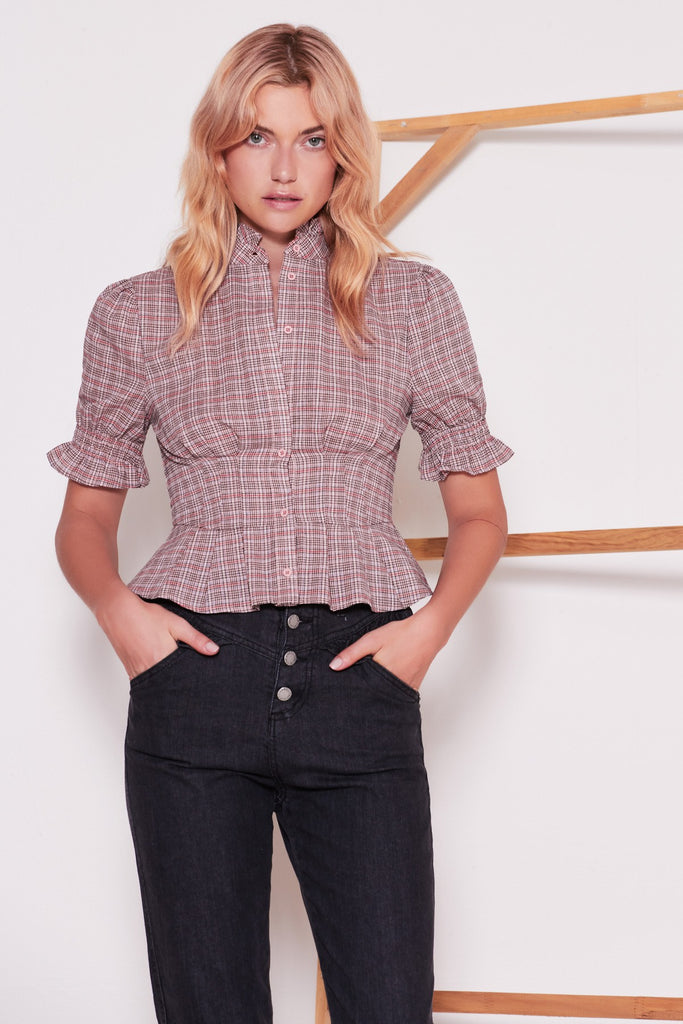 COLLEGIATE CHECK SHORT SLEEVE SHIRT blush w black