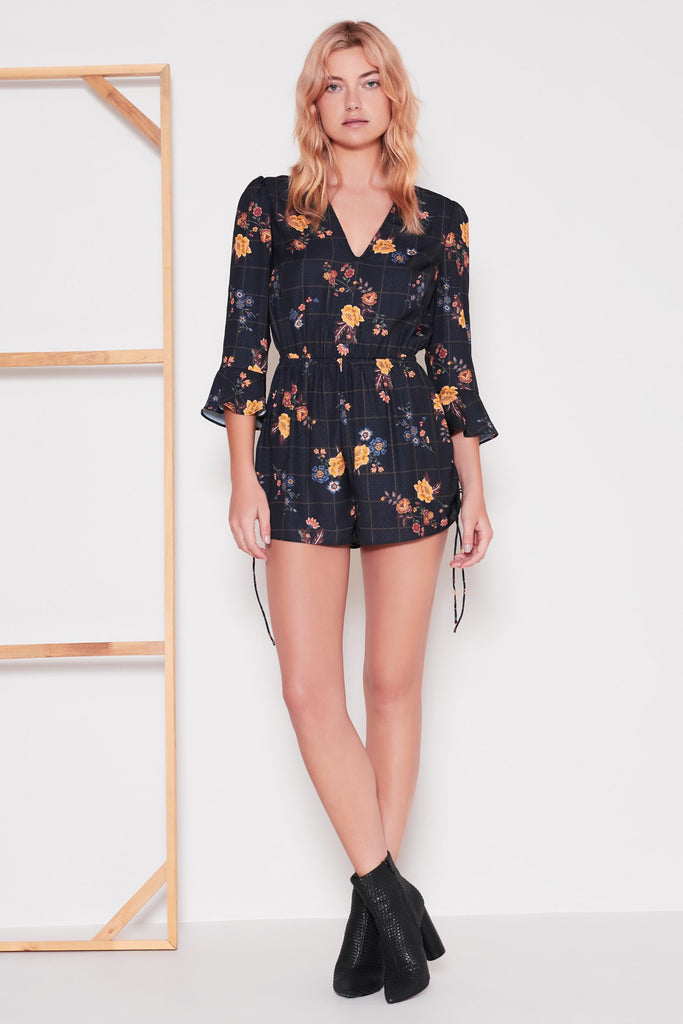 SYLLABUS LONG SLEEVE PLAYSUIT navy floral check