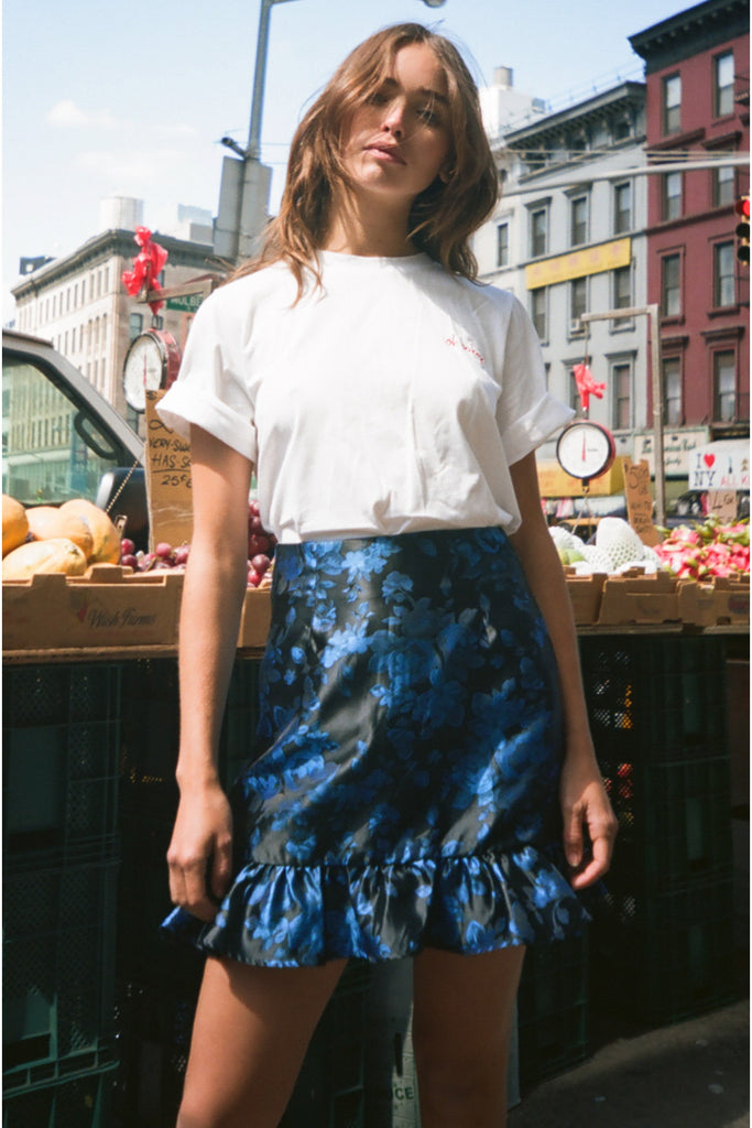 ALWAYS SKIRT black w cobalt floral