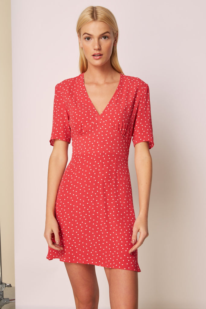 AMORE DRESS washed red w white heart