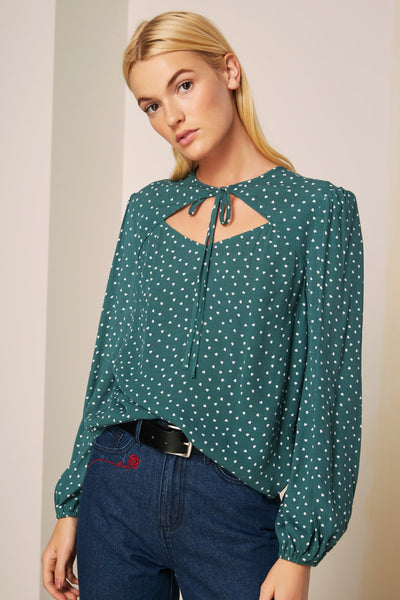 05a03ec046 AMORE LONG SLEEVE TOP forest green w white heart