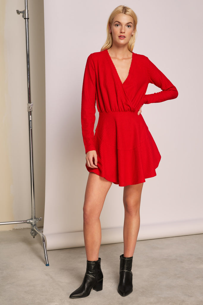 SPARK LONG SLEEVE DRESS red