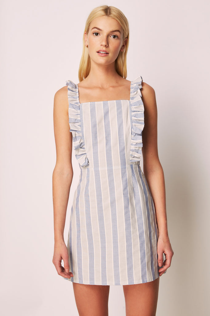 WITH ME STRIPE DRESS blue w grey