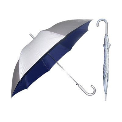 Silver European Hook Umbrella with Navy Blue Lining
