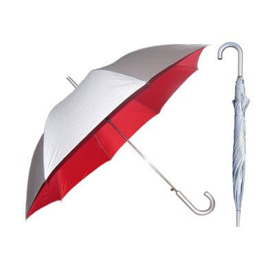 Silver European Hook Umbrella with Red Lining