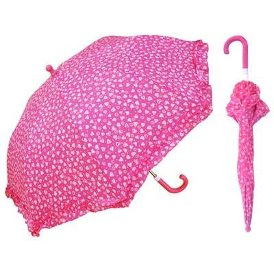 Kids Pink Heart With Ruffle Umbrella