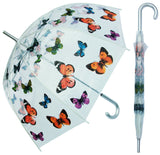 Clear Butterfly Print Umbrella