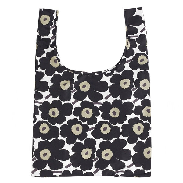 Mini Unikko Smart Shopping Bag in white, black and olive green