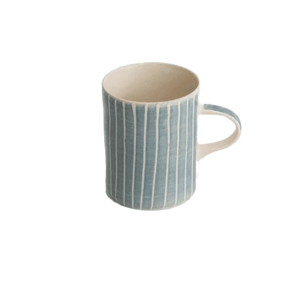 Ceramic mug in dove grey stripes