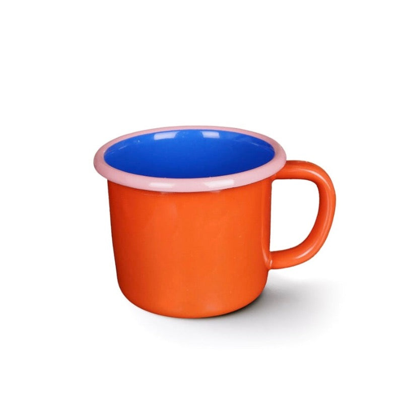 Red, blue and pink enamel mug