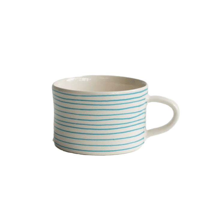 Ceramic mint blue thin striped mug